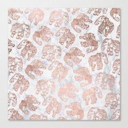 Boho rose gold floral paisley mandala elephants illustration white marble pattern Canvas Print