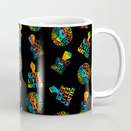 blm x gay pride rainbow flag - black lives matter seamless lgbt gay rainbow print pattern Coffee Mug