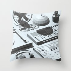 Low Poly Studio Objects 3D Illustration Grey Throw Pillow