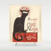 cat coquillette Shower Curtains featuring A French Ninja Cat (Le Chat Ninja) by Kyle Walters