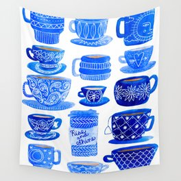 Coffee Mugs and Tea Cups - A study in blues Wall Tapestry