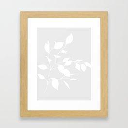 Grey & White Leaves Framed Art Print