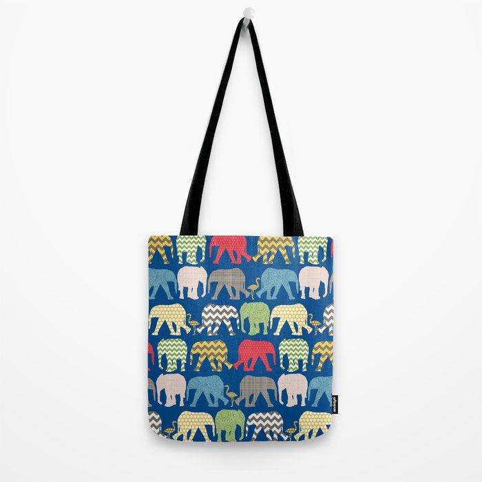 baby elephants and flamingos lapis Tote Bag