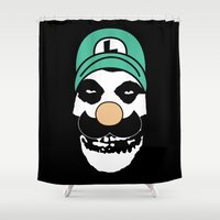 luigi Shower Curtains featuring Misfit Luigi by cudatron