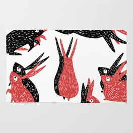 Black and Red Rabbits Rug