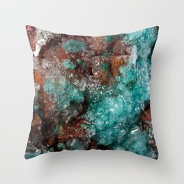 Dark Rust & Teal Quartz Throw Pillow