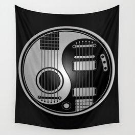 Guitar Yin Yang Gray and Black Wall Tapestry