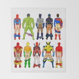 Superhero Butts Throw Blanket