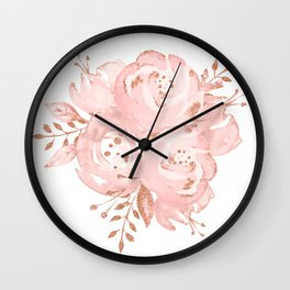 Roses Rose Gold Glitter Pink by Nature Magick Wall Clock