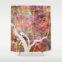 washington Shower Curtains featuring Washington by MapMapMaps.Watercolors