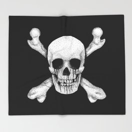 Jolly Roger Pirate Skull Flag Throw Blanket
