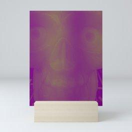 Scary skull in a purple and white duotone Mini Art Print