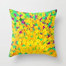 SPRING SPLASH - Bright Cheerful Lime Sunshine Yellow Lavender Lilac Purple Ocean Beach Waves Throw Pillow