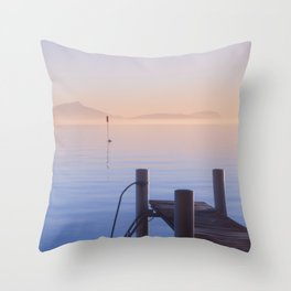 Peaceful Winter Sunset Over The Sea Throw Pillow