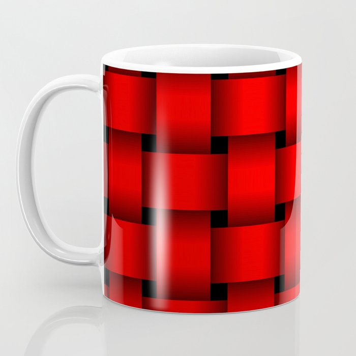 Large Red Weave Coffee Mug