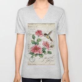 Vintage Roses Print Hummingbird Art Love Quote Rustic Decor Valentine Gift Unisex V-Neck