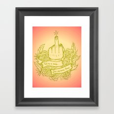Tell Me to Smile - pink, yellow, green, gold, peach Framed Art Print