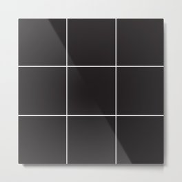 Blak White Grid Metal Print