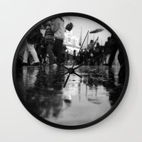 it crowd Wall Clocks featuring crowd by Julia Aufschnaiter
