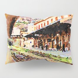 Catanzaro: train at the railway station Pillow Sham