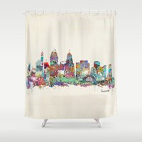 cincinnati Shower Curtains featuring Cincinnati Ohio skyline by bri.buckley