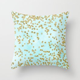 Sparkling gold glitter confetti on aqua ocean blue watercolor background - Luxury pattern Throw Pillow