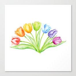 Rainbow Tulips, Spring Flowers Canvas Print