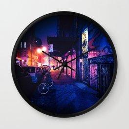 Lower East Side - Night on Rivington Street Wall Clock