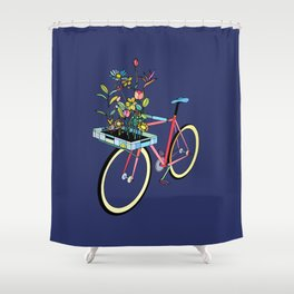 Bike and Flowers Shower Curtain