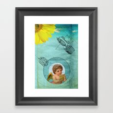 Angel playing music in space Framed Art Print