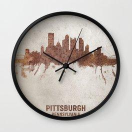 Pittsburgh Pennsylvania Rust Skyline Wall Clock