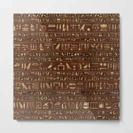 Egyptian hieroglyphs gold on brown leather Metal Print