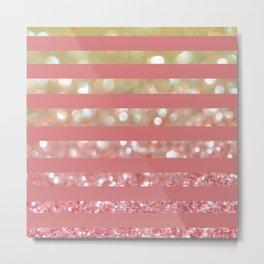 Champagne Tango Stripes Metal Print