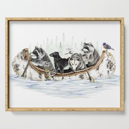 """"""" Critter Canoe """" wildlife rowing up river Serving Tray"""