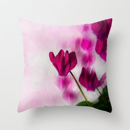 Pink Cyclamen Impressions Throw Pillow
