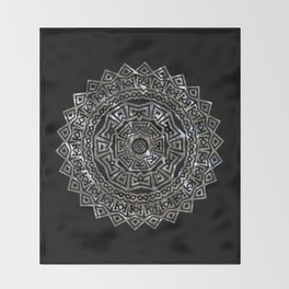 Aztec Mexican Silver Mandala Throw Blanket