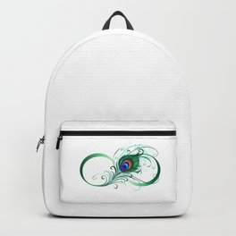 Infinity Symbol with Peacock Feather Backpack