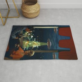 Meow! Cat abducted by Aliens Rug