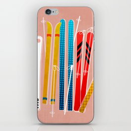 Colorful Ski Illustration and Pattern no 2 iPhone Skin