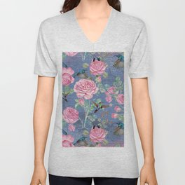 Vintage Watercolor hummingbird and English Roses on blue Background Unisex V-Neck