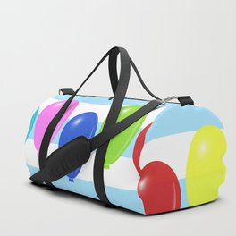 Balloons on striped background Duffle Bag