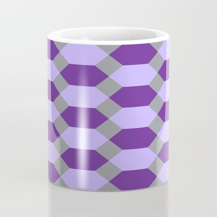 Purple Hexagons on Middle Gray Coffee Mug