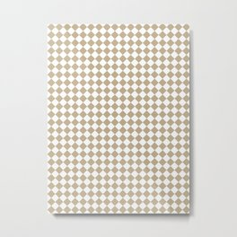 Small Diamonds - White and Khaki Brown Metal Print