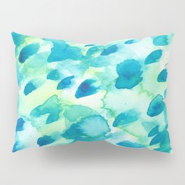 Blue, Green and Aqua Abstract Watercolor Painted Spots Pillow Sham