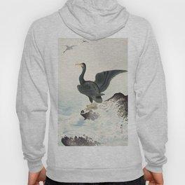 Cormorants at stormy sea - Japanese vintage woodblock print art Hoody
