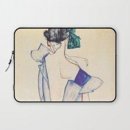 """Egon Schiele """"Rückenansicht eines Mädchens im blauen Rock (Back view of  a girl in a blue dress)"""" Laptop Sleeve"""