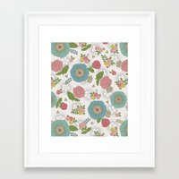 manchester Framed Art Prints featuring Manchester floral by Silvia Dekker