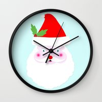 santa Wall Clocks featuring santa by elvia montemayor