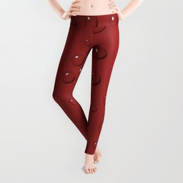 Water drops on amaranth red sand Leggings