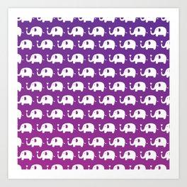 Elephants In Love (Purple) Art Print